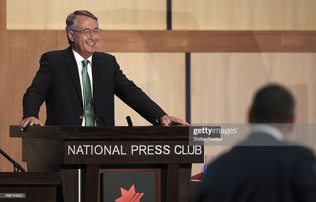 Deputy Prime Minister and Treasurer <a gi-track='captionPersonalityLinkClicked' href=/galleries/search?phrase=Wayne+Swan&family=editorial&specificpeople=4582809 ng-click='$event.stopPropagation()'>Wayne Swan</a> delivers his post Budget Press Club address in the Great Hall on May 15, 2013 in Canberra, Australia. <a gi-track='captionPersonalityLinkClicked' href=/galleries/search?phrase=Wayne+Swan&family=editorial&specificpeople=4582809 ng-click='$event.stopPropagation()'>Wayne Swan</a> yesterday delivered his sixth federal budget revealing a $19.4 billion deficit and a plan to reach a surplus by 2016/2017 should Labour win the next federal election September 14.