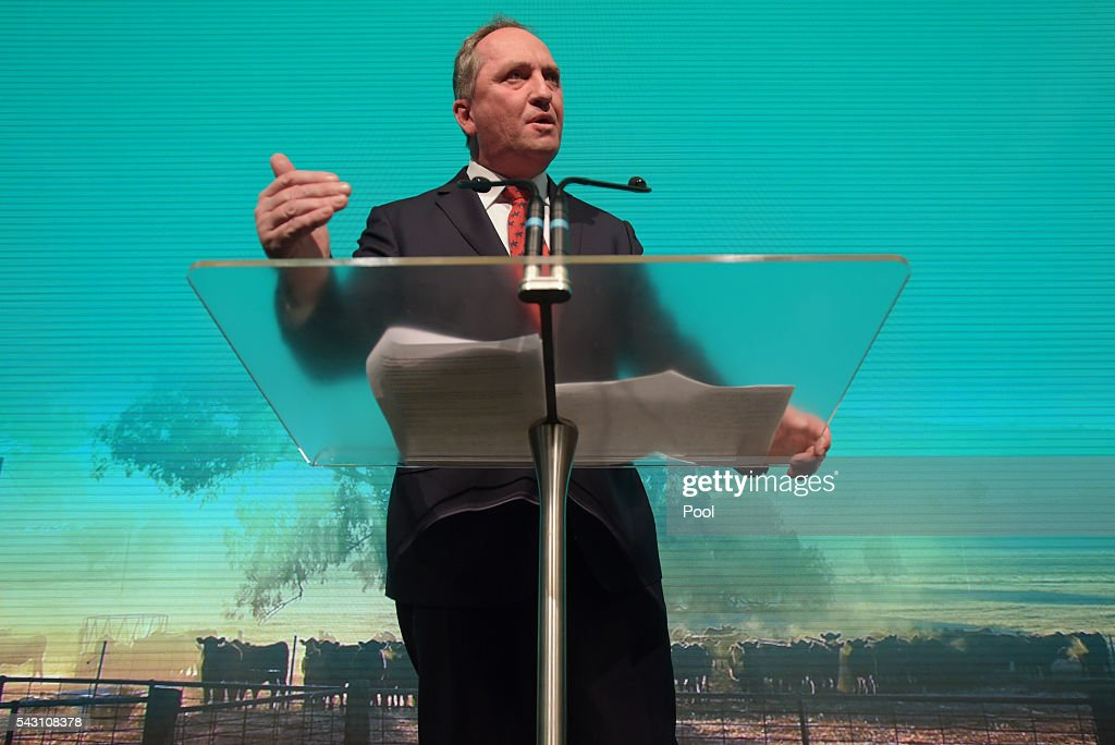 Deputy Prime Minister Barnaby Joyce addresses party members at the Coalition Campaign Launch in Sydney, Sunday, June 26, 2016. A federal election will be held in Australia on Saturday July 2.