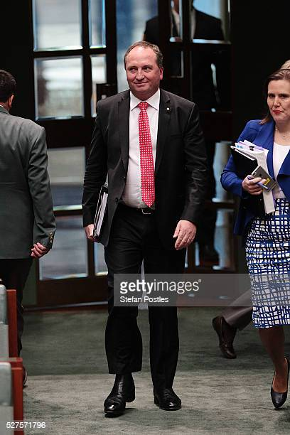 Deputy Prime Minister Barnaby Joyce arrives at House of Representative question time at Parliament House on May 3 2016 in Canberra Australia The...