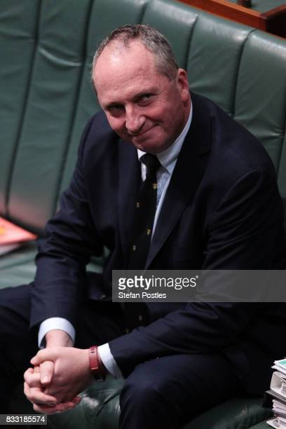 Deputy Prime Minister Barnaby Joyce during House of Representatives question time at Parliament House on August 17 2017 in Canberra Australia Justice...