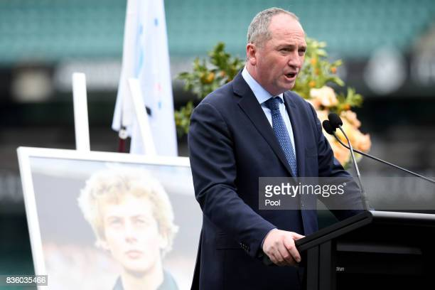 Deputy Prime Minister Barnaby Joyce speaks at a State Memorial Service for Australian Olympian Betty Cuthbert at the Sydney Cricket Ground in Sydney...