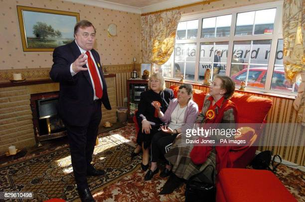Deputy Prime Minister John Prescott is accompanied by Janet Dean and environment secretary Margaret Beckett at the home of Mrs Ann Geary in...