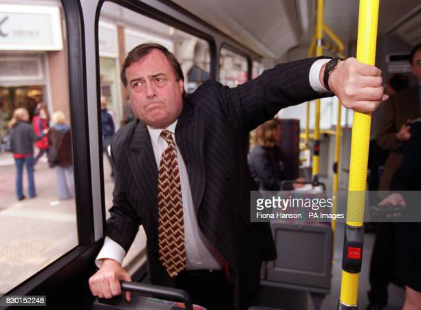 Deputy Prime Minister John Prescott on a bus in central London to launch a document entitled From Workhorse to Thoroughbred a policy statement on...