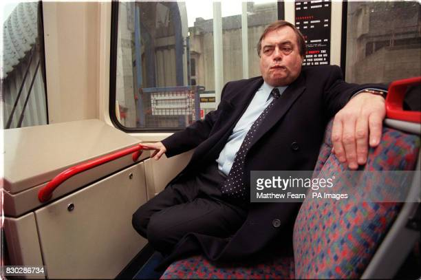 Deputy Prime Minister John Prescott travels on a DLR train after opening the Docklands Light Railway link between Tower Bridge and Lewisham southeast...