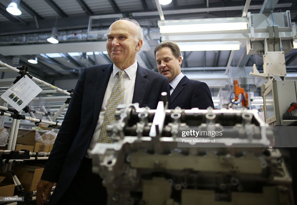 Deputy Prime Minister Nick Clegg (R) and Business Secretary Vince Cable visit the Ricardo Engine Assembly plant on September 24, 2012 in Shoreham-by-Sea, England. Later the Business Secretary Vince Cable will announce a new bank to enable easier lending to businesses.