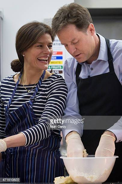 Deputy Prime Minister Nick Clegg and his wife Miriam Gonzalez Durantez help make a crumble at Ivy Lane Primary School as he canvasses with local...