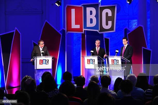 Deputy Prime Minister Nick Clegg and UKIP leader Nigel Farage take part in a debate over Britain's future in the European Union hosted by LBC's Nick...