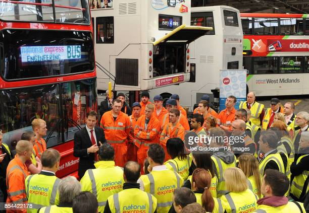 Deputy Prime Minister Nick Clegg answers questions for apprentices during a visit to National Express West Midlands Birmingham Clegg was meeting some...