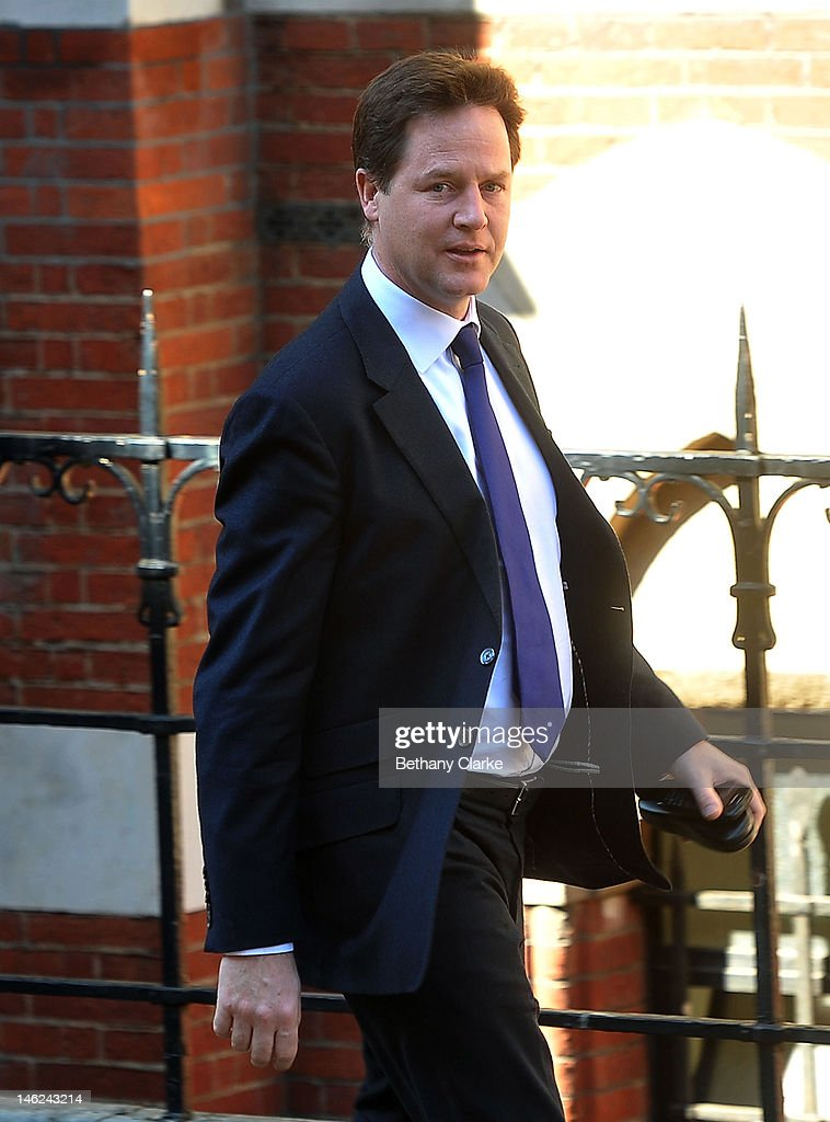 Deputy Prime Minister Nick Clegg arrives at the Leveson Inquiry at the High Court on June 13 2012 in London England This phase of the inquiry into...