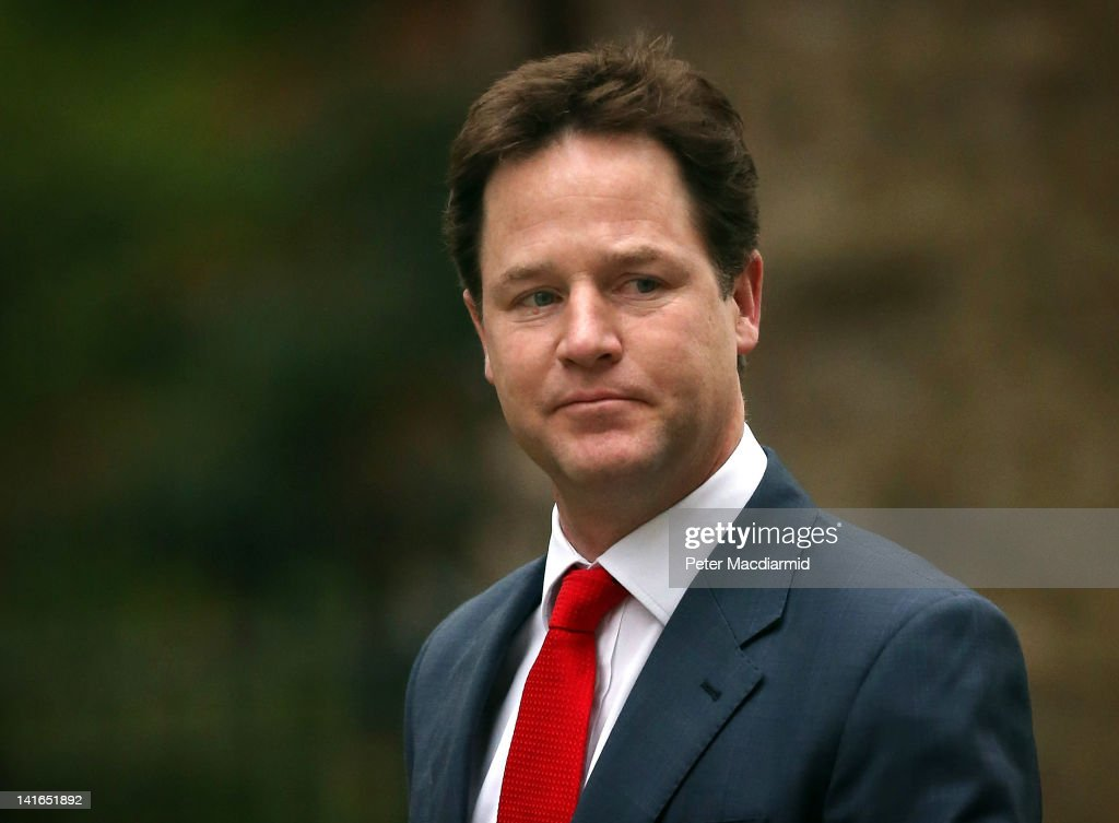 Deputy Prime Minister Nick Clegg arrives for a pre-budget Cabinet meeting in Downing Street on March 21, 2012 in London, England. Despite increasing pressure on the Chancellor to help ease the financial burden on the British public during his address to Parliament, it is likely that Mr Osborne will continue with the stringent measures that he has implemented over the last few years in an attempt to tackle the UK's deficit.