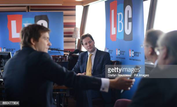 Deputy Prime Minister Nick Clegg cohosts his weekly phone in radio show with LBC's Nick Ferrari on the moored boat the Tattersall Castle on the River...