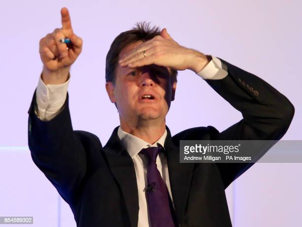 Deputy Prime Minister Nick Clegg during a speech making the positive economic case for Scotland remaining in the UK and EU to the Scottish Chambers...
