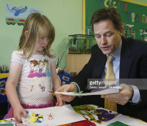Deputy Prime Minister Nick Clegg during a visit to Banbury Cross Nursery in Aberdeen Scotland ahead of attending the Scottish Liberal Democrats...