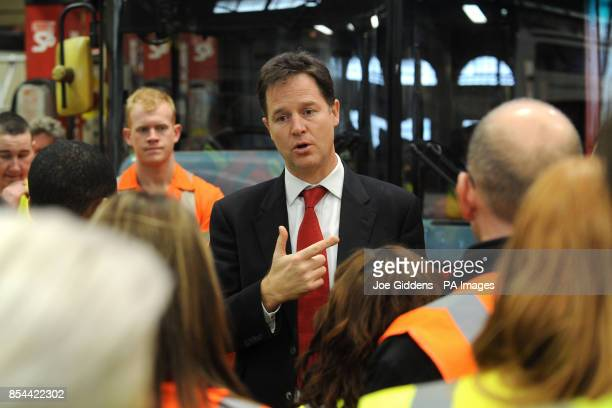 Deputy Prime Minister Nick Clegg during a visit to National Express West Midlands Birmingham Clegg was meeting some of the company's 50 apprentices...