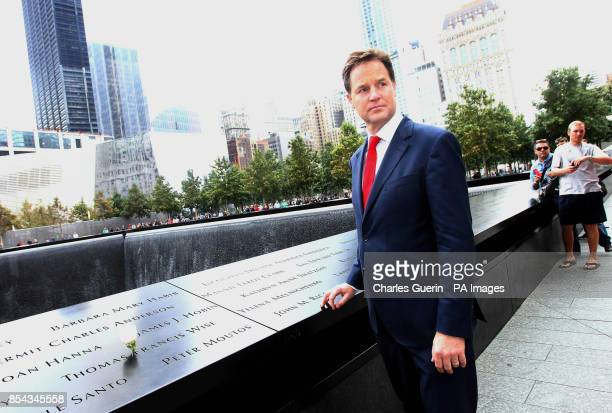Deputy Prime Minister Nick Clegg during a visit to the World Trade Center 9/11 Memorial and the new 1 World Trade Center building Lower Manhattan USA