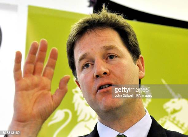 Deputy Prime Minister Nick Clegg during his speech on parental leave to the thinktank Demos at the Demos office in south London