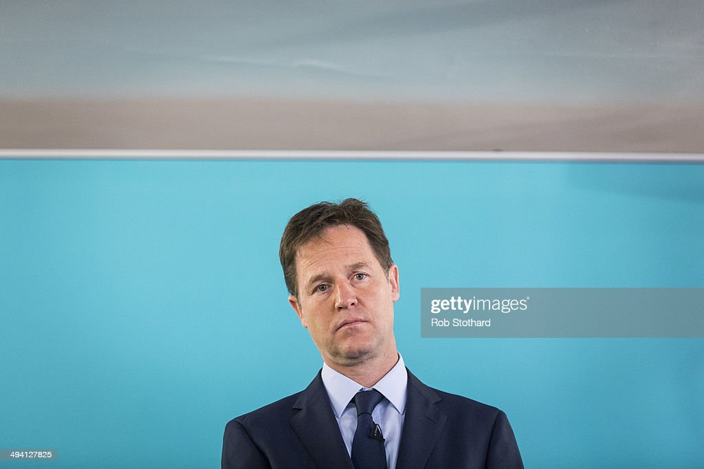 Deputy Prime Minister <a gi-track='captionPersonalityLinkClicked' href=/galleries/search?phrase=Nick+Clegg&family=editorial&specificpeople=579276 ng-click='$event.stopPropagation()'>Nick Clegg</a> gives a speech on International Development at The Village Hall in Hoxton Square on May 28, 2014 in London, England. The Liberal Democrat leader spoke of his party's election manifesto which will include a commitment to spend 0.7% of the nation's wealth on aid.