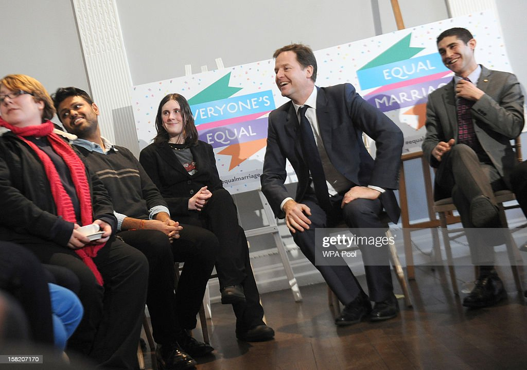 Deputy Prime Minister <a gi-track='captionPersonalityLinkClicked' href=/galleries/search?phrase=Nick+Clegg&family=editorial&specificpeople=579276 ng-click='$event.stopPropagation()'>Nick Clegg</a> meets lesbian, gay, bisexual, and transgender (LGBT) groups to discuss the impact of the Government's proposals on equal marriage, at the Institute of Contemporary Arts, on December 11, 2012 in London, England. London. Both the Church of England and the Church in Wales have objected to same-sex marriages; the plans of which are expected to be introduced ahead of the 2015 general election. Culture Secretary Maria Miller issued a statement that permits religious groups to abstain from carrying out the ceremonies and announced the amendment of the 2010 Equality Act to ensure no discrimination claim can be brought against them.