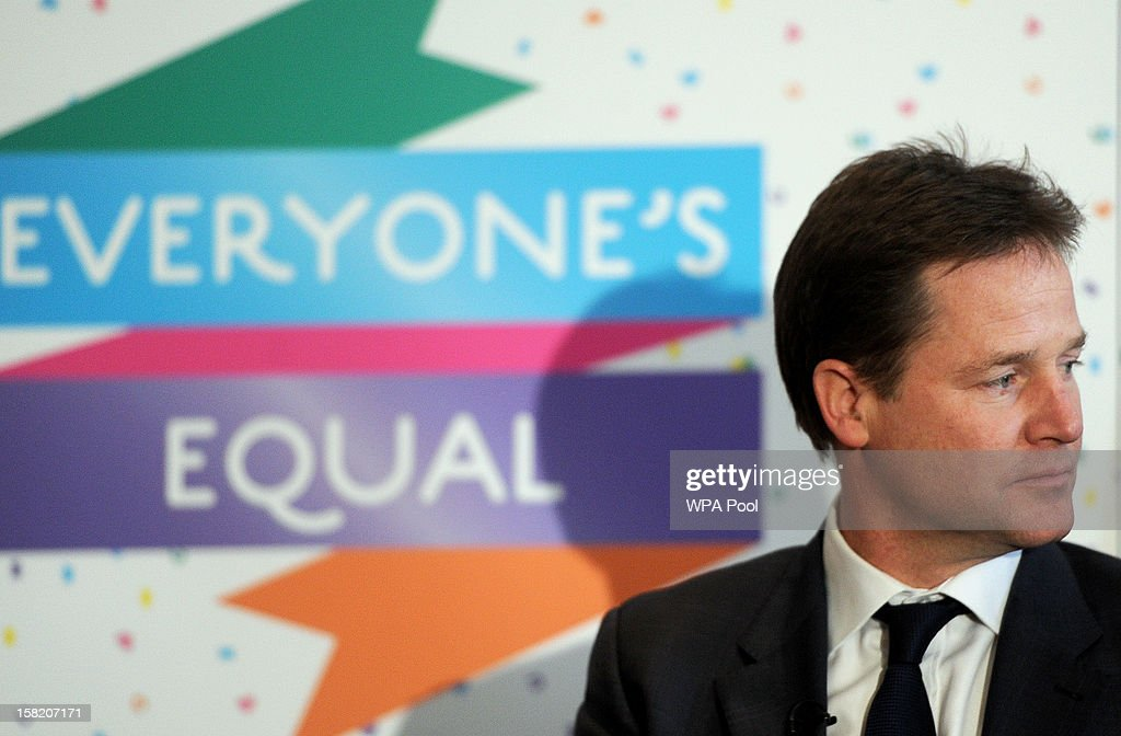 Deputy Prime Minister Nick Clegg meets lesbian, gay, bisexual, and transgender (LGBT) groups to discuss the impact of the Government's proposals on equal marriage, at the Institute of Contemporary Arts, on December 11, 2012 in London, England. London. Both the Church of England and the Church in Wales have objected to same-sex marriages; the plans of which are expected to be introduced ahead of the 2015 general election. Culture Secretary Maria Miller issued a statement that permits religious groups to abstain from carrying out the ceremonies and announced the amendment of the 2010 Equality Act to ensure no discrimination claim can be brought against them.