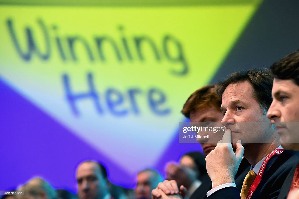 Deputy Prime Minister Nick Clegg, sits in the auditorium ahead of the partys airport expansion vote on the fourth day of the Liberal Democrat Autumn conference on October 7, 2014 in Glasgow, Scotland. Lib Dem Energy Secretary Ed Davey will later address delegates where he is expected to announce a U-turn on the party's stance on airport expansion.