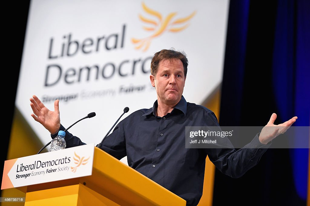 Deputy Prime Minister Nick Clegg speaks during a question and answer session at the Liberal Democrat Autumn conference on October 6 2014 in Glasgow...