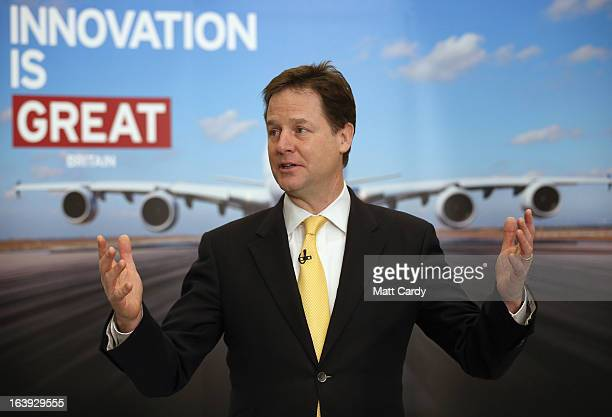 Deputy Prime Minister Nick Clegg speaks with staff as he visits the Airbus site at Filton on March 18 2013 in Bristol England The purpose of Deputy...