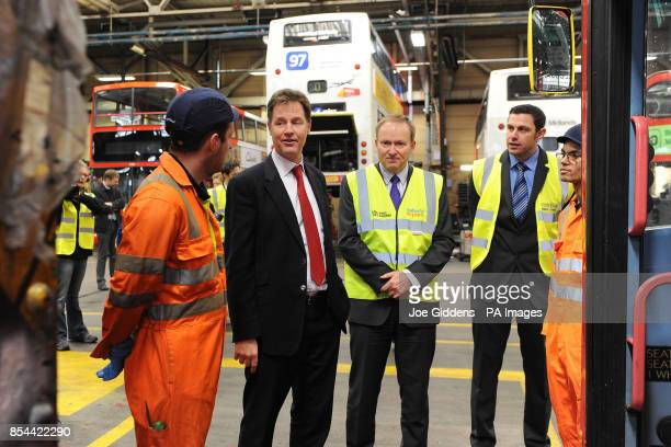 Deputy Prime Minister Nick Clegg talks to apprentice Tony Newell alongside Managing Director Peter Coates and Head of Engineering Standards Nick...