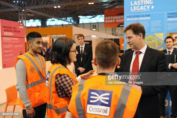 Deputy Prime Minister Nick Clegg talks to apprentices from Crossrail during The Skills Show at the NEC Birmingham