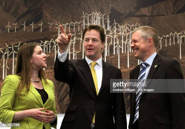 Deputy Prime Minister Nick Clegg with Scottish Lib Dem leader Willie Rennie and Lib Dem Jo Swinson MP at Whitlock Energy Collaboration Centre where...