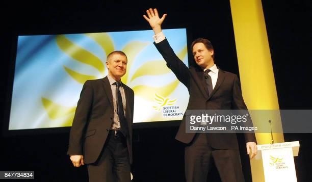 Deputy Prime Minister Nick Clegg with Scottish Liberal Democrat leader Willie Rennie following his address to the Scottish Liberal Democrat spring...