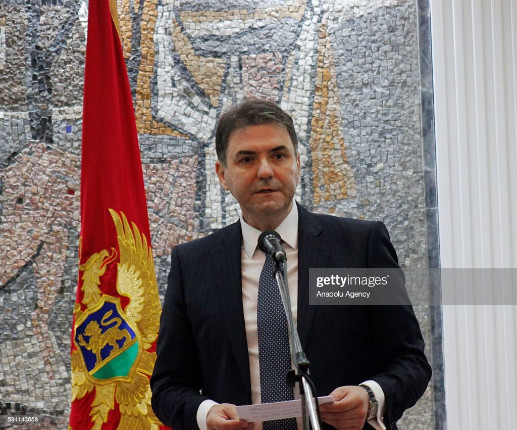 Deputy Prime Minister of Montenegro Petar Ivanovic delivers a speech during a joint press conference with Polish Foreign Minister Witold Waszczykowski (not seen) at the government building in Podgorica, Montenegro on May 25, 2016.