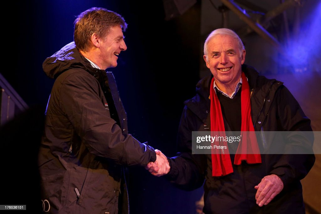 Deputy Prime Minister of New Zealand Bill English and Winter Games NZ Chairman Sir Eion Edgar shake hads during the Opening Ceremony for the Winter...