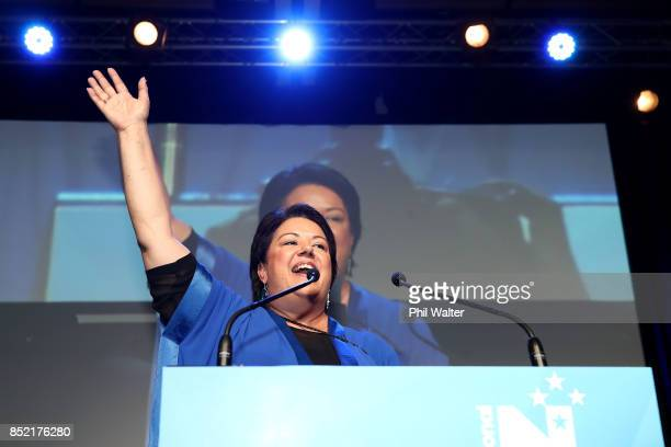 Deputy Prime Minister of New Zealand Paula Bennett addresses her supporters on September 23 2017 in Auckland New Zealand Voters head to the polls...