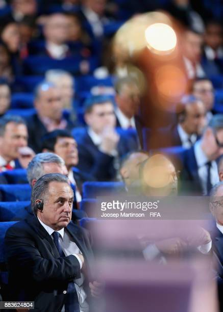 Deputy Prime Minister of Russia Vitaly Mutko looks on during the Final Draw for the 2018 FIFA World Cup Russia at the State Kremlin Palace on...