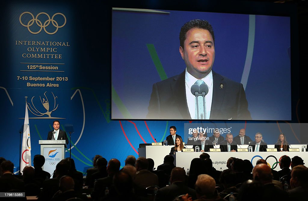 Deputy Prime Minister of Turkey, <a gi-track='captionPersonalityLinkClicked' href=/galleries/search?phrase=Ali+Babacan&family=editorial&specificpeople=612964 ng-click='$event.stopPropagation()'>Ali Babacan</a> speaks during the Istanbul 2020 bid presentation during the 125th IOC Session - 2020 Olympics Host City Announcement at Hilton Hotel on September 7, 2013 in Buenos Aires, Argentina.