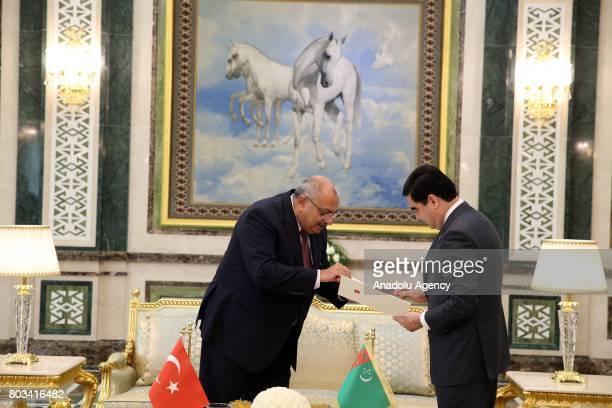 Deputy Prime Minister of Turkey Tugrul Turkes hands President of Turkey Recep Tayyip Erdogan's letter to President of Turkmenistan Gurbanguly...