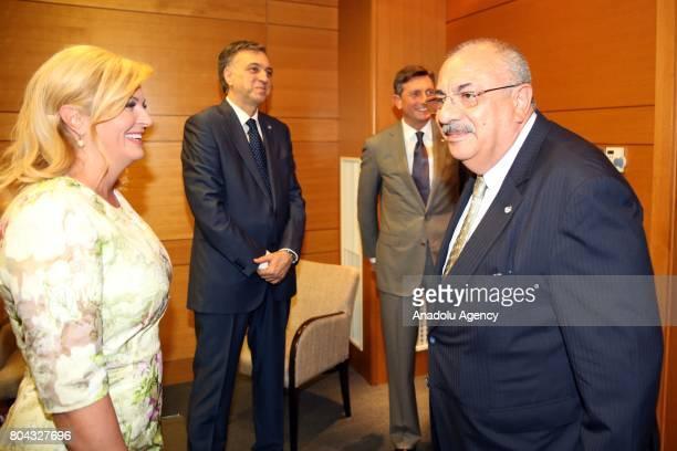 Deputy Prime Minister of Turkey Tugrul Turkes meets with President of Croatia Kolinda GrabarKitarovic President of Montenegro Filip Vujanovic and...