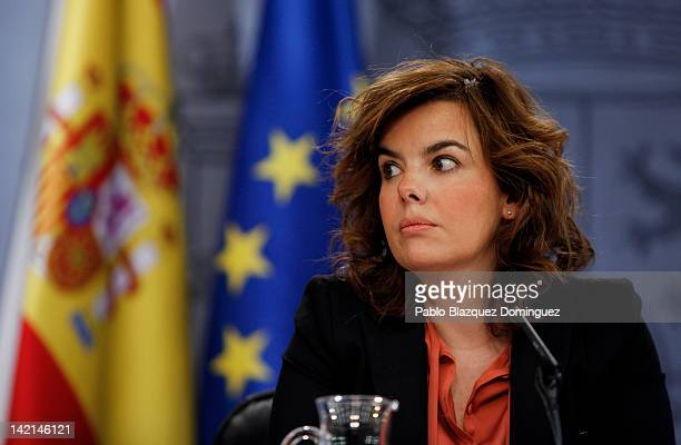 Deputy Prime Minister Soraya Saenz de Santamaria unviels Spain's budget for 2012 during a press conference at the Moncloa Palace on March 30 2012 in...