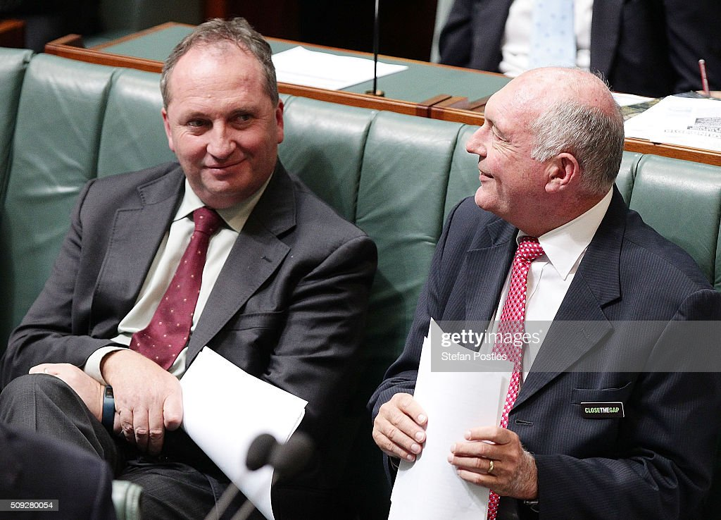 Deputy Prime Minister Warren Truss and Minister for Agriculture and Water Resources Barnaby Joyce during House of Representatives question time at Parliament House on February 10, 2016 in Canberra, Australia.