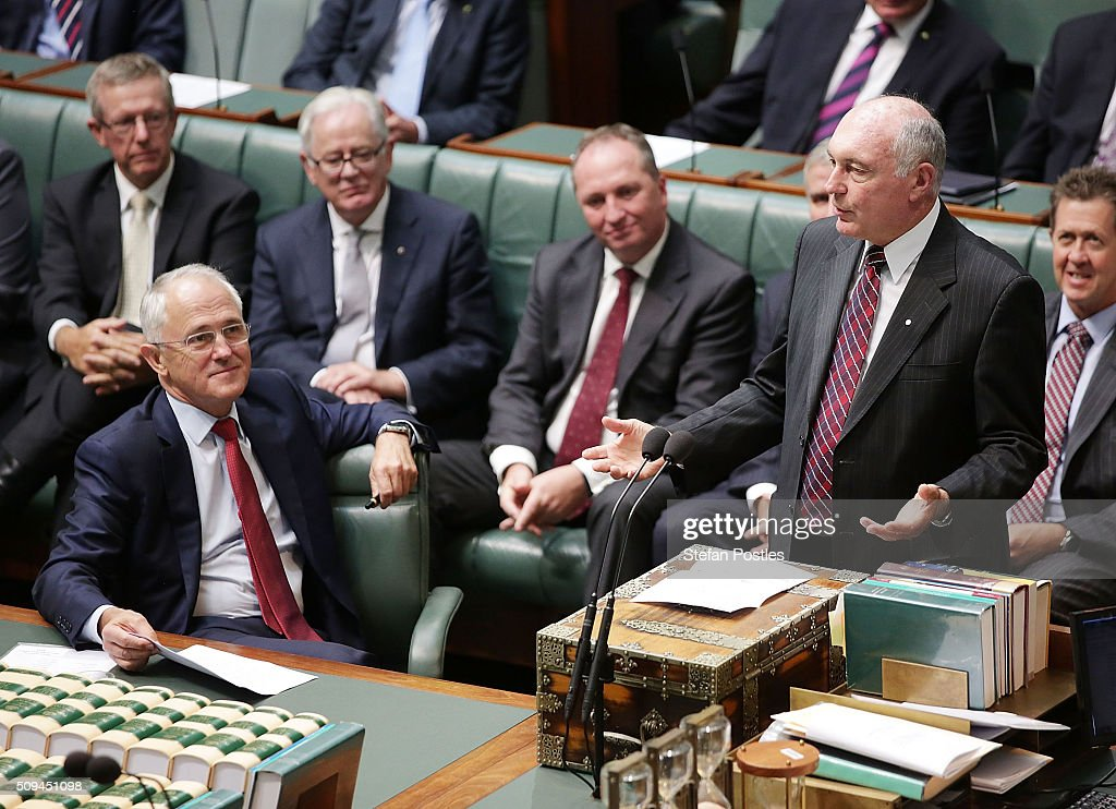 Deputy Prime Minister Warren Truss announces his retirement in the House of Representatives on February 11, 2016 in Canberra, Australia. Nationals Leader and Deputy Prime Minister Warren Truss and Trade Minister Andrew Robb will retire at the next election.