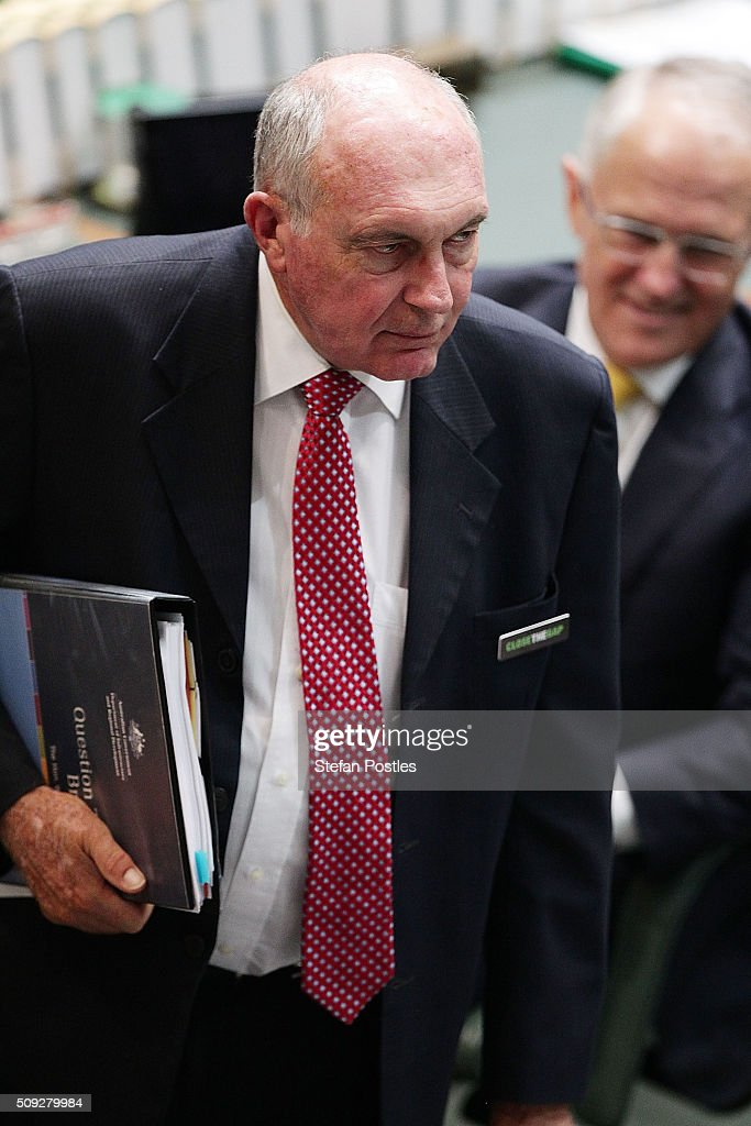 Deputy Prime Minister Warren Truss during House of Representatives question time at Parliament House on February 10, 2016 in Canberra, Australia.