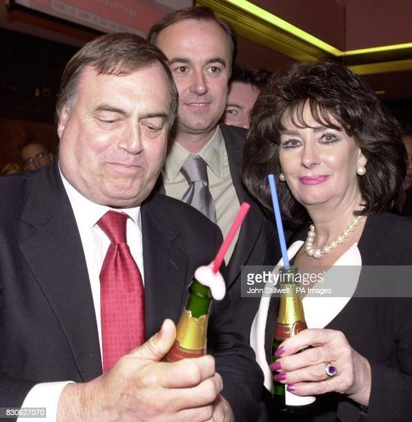 Deputy Prime Minster John Prescott and his wife Pauline toast Labour's 2001 General Election victory with champagne at the Labour party headquarters...
