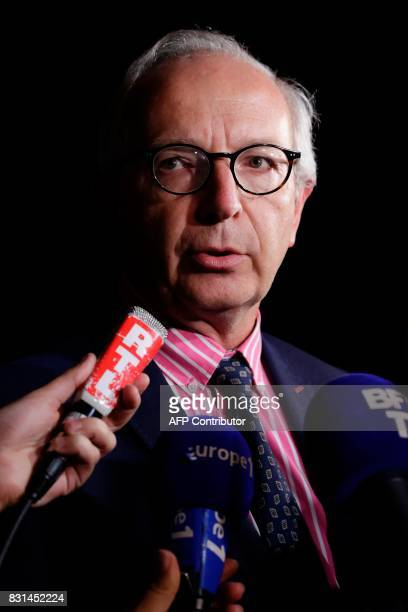 Deputy prosecutor of Meaux Eric de Valroger speaks to the press after man smashed a car into a pizza restaurant in SeptSorts 55km east of Paris on...
