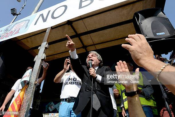 Deputy Renato Brunetta of Forza Italia is angry with the protesters that contested him during the National demonstration of street vendors against...
