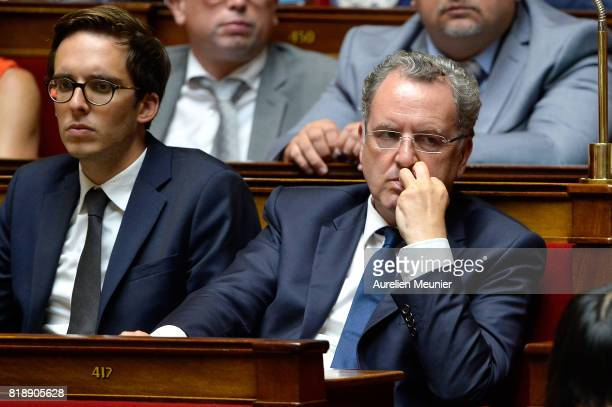 Deputy Richard Ferrand reacts as Ministers answer deputies during the weekly questions to the government at Assemblee Nationale on July 19 2017 in...