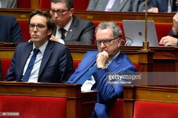 Deputy Richard Ferrand reacts reacts as Ministers answer deputies during the weekly questions to the government at Assemblee Nationale on October 4...