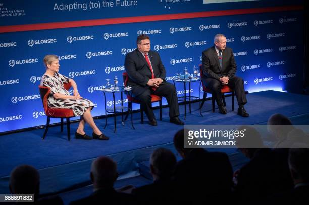 NATO Deputy Secretary General Rose Gottemoeller Minister of Foreign Affairs of the Republic of Lithuania Linas Linkevicius and retired US Marine...