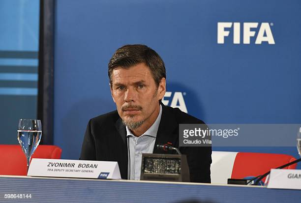 FIFA deputy secretary general Zvonmir Boban attends FIFA First 'offline' VAR test press conference at Stadio San Nicola on September 2 2016 in Bari...