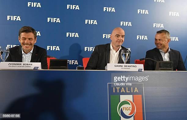 FIFA deputy secretary general Zvonmir Boban FIFA President Gianni Infantino and FIFA Referee Bjorn Kuipers attend FIFA First 'offline' VAR test press...