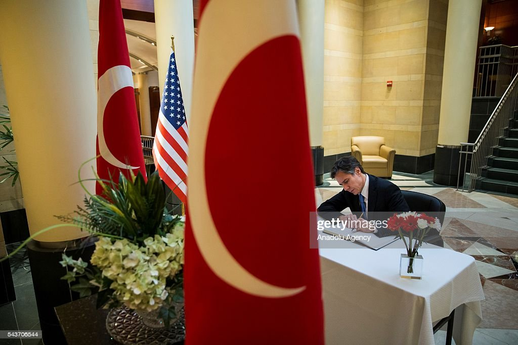 Deputy Secretary of State Tony Blinkin leaves his condolences for the victims of the Istanbul Airport bombing in a book at the Turkish Embassy in Washington, USA on June 29, 2016.